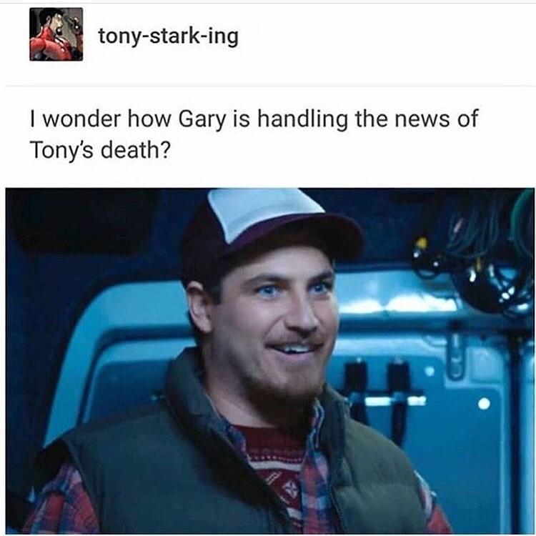 marvel meme - Photo caption - tony-stark-ing I wonder how Gary is handling the news of Tony's death?