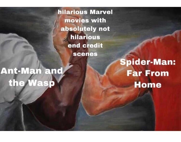 marvel meme - Text - hilarious Marvel movies with absolutely not hilarious end credit scenes Spider-Man: Ant-Man and Far From the Wasp Home