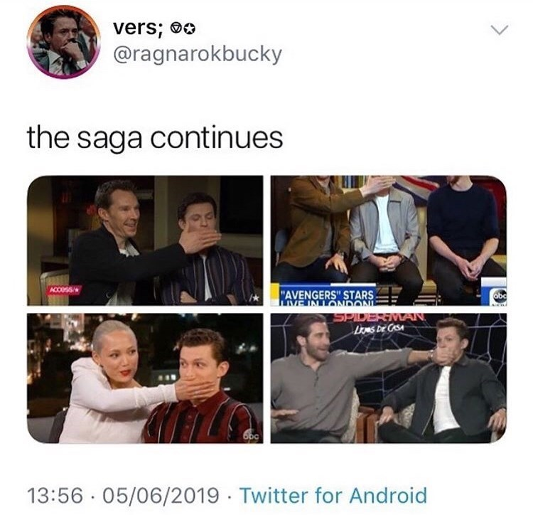"marvel meme - Wing chun - vers; o @ragnarokbucky the saga continues ACCOSS ""AVENGERS""' STARS mVEINLONDON abc SPIDERIMAN 13:56 05/06/2019 Twitter for Android"