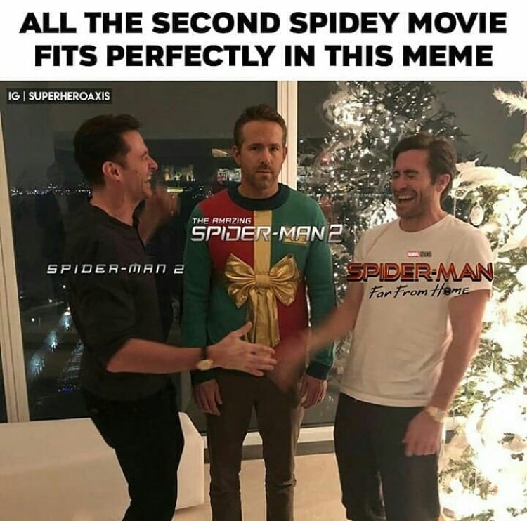 marvel meme - T-shirt - ALL THE SECOND SPIDEY MOVIE FITS PERFECTLY IN THIS MEME IG I SUPERHEROAXIS THE AMAZING SPIDER-MAN2 SPIDER MAN Far From HemE SPIDER-MAN 2