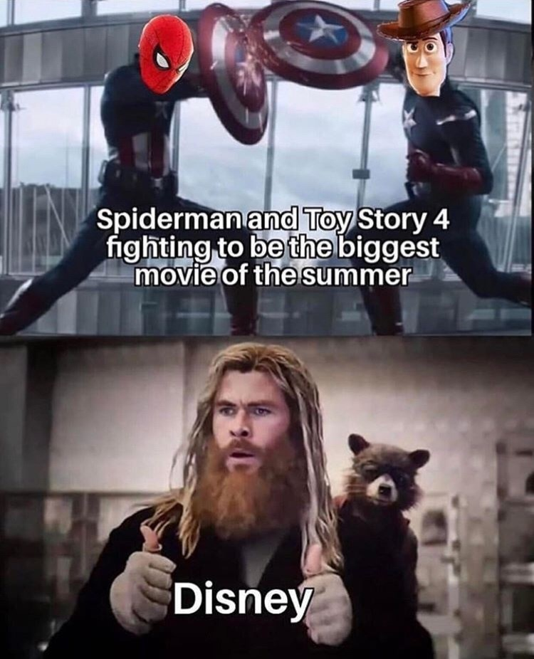 marvel meme - Fictional character - Spiderman and Toy Story 4 fighting to be the biggest movie of the summer Disney
