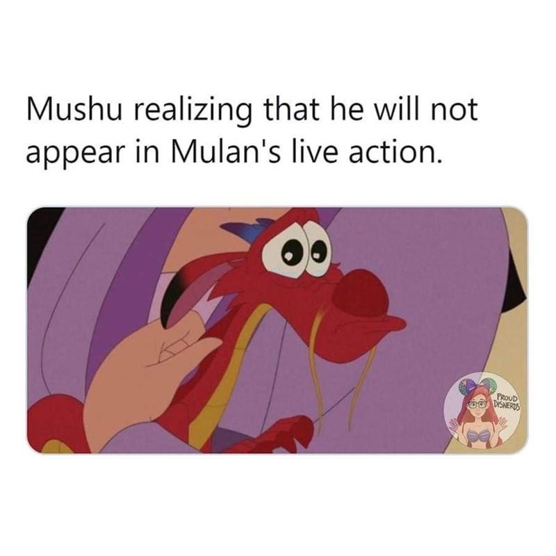 meme - Cartoon - Mushu realizing that he will not appear in Mulan's live action. PROUD 6DISNERDS