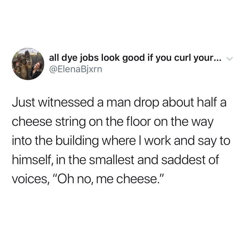 """meme - Text - all dye jobs look good if you curl your... @ElenaBjxrn Just witnessed a man drop about half a cheese string on the floor on the way into the building where I work and say to himself, in the smallest and saddest of voices, """"Oh no, me cheese."""""""