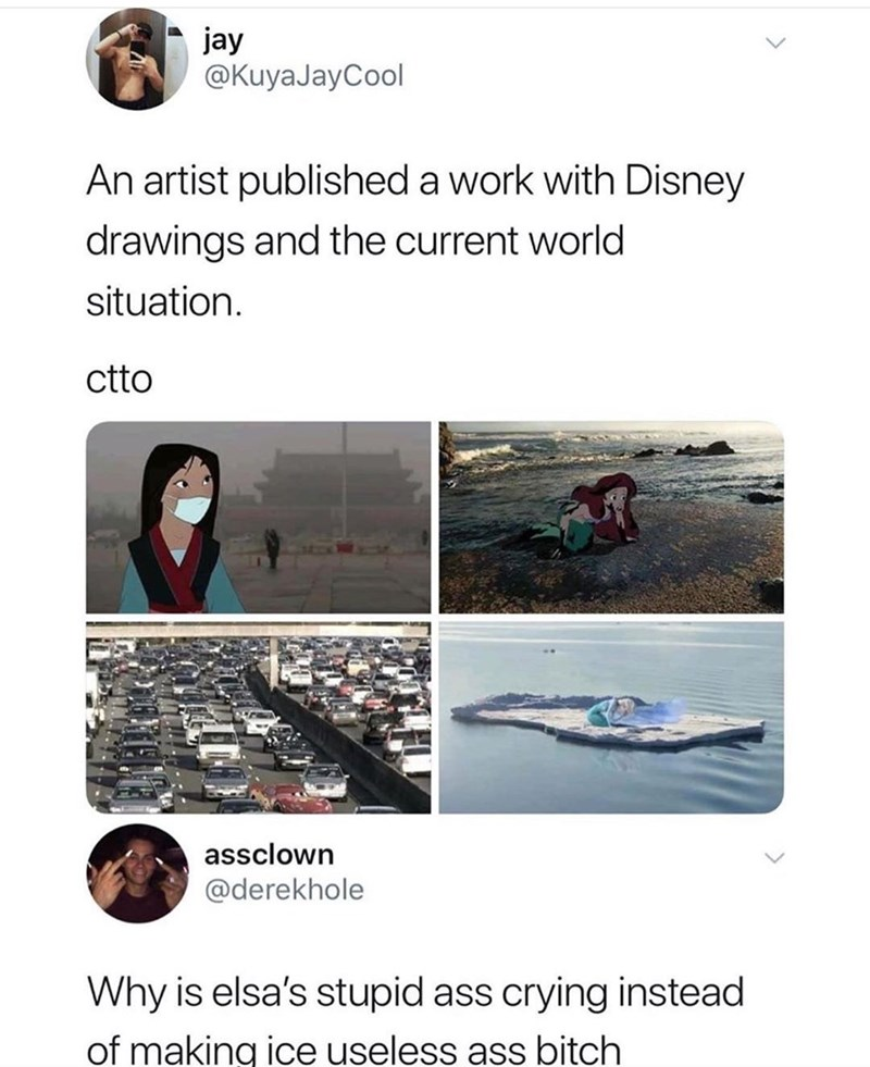 meme - Text - jay @KuyaJayCool An artist published a work with Disney drawings and the current world situation ctto assclown @derekhole Why is elsa's stupid ass crying instead of making ice useless ass bitch
