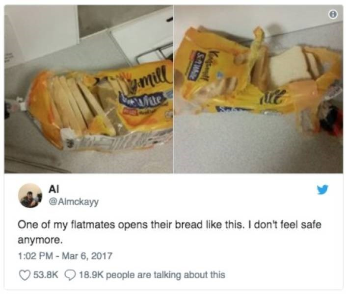 bad roommate - Junk food - mill Suite AI @Almckayy One of my flatmates opens their bread like this. I don't feel safe anymore. 1:02 PM-Mar 6, 2017 53.8K 18.9K people are talking about this