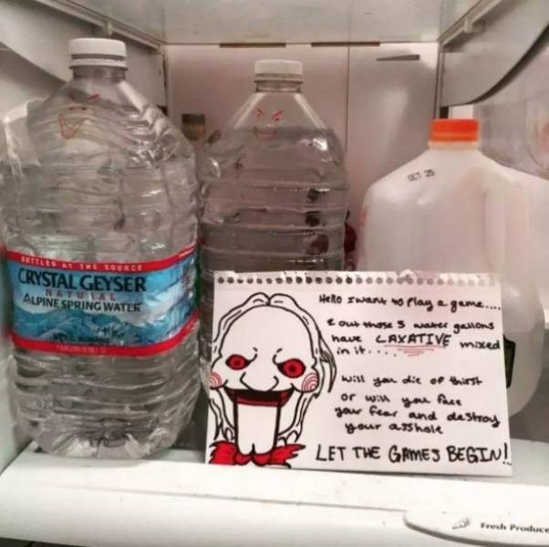 bad roommate - Water - ETTLEST TRESOERCE CRYSTAL GEYSER oPlay a geme... HeRo NATU A ALPINE SPRING WATER out the s gaions have LAXATIVE maxed in w g die of irst or w Au zar fear and dastroy our ashal LET THE GAMES BEGI! Fresh Produce
