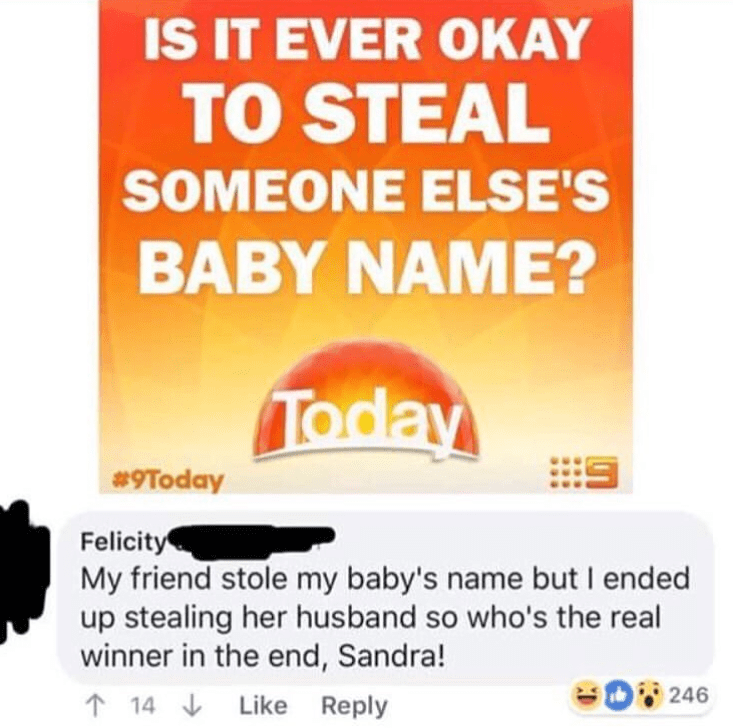 Funny Facebook post about stealing baby names, sandra.