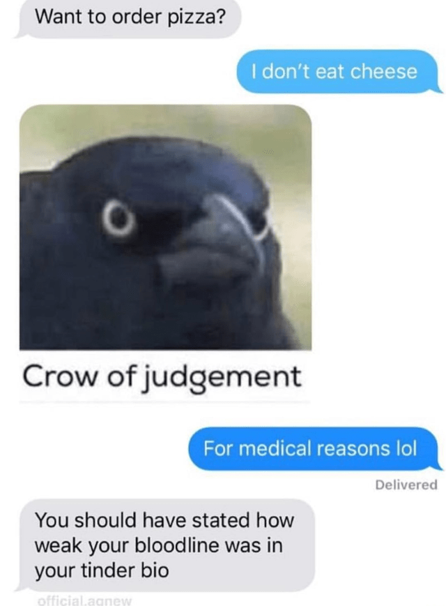 tinder - Bird - Want to order pizza? I don't eat cheese Crow of judgement For medical reasons lol Delivered You should have stated how weak your bloodline was in your tinder bio official.agnew