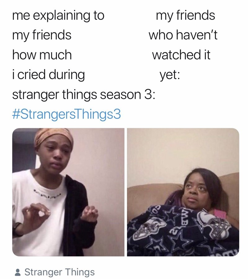 stranger things meme - Face - me explaining to my friends who haven't my friends how much watched it icried during yet: stranger things season 3: #StrangersThings3 Stranger Things MB