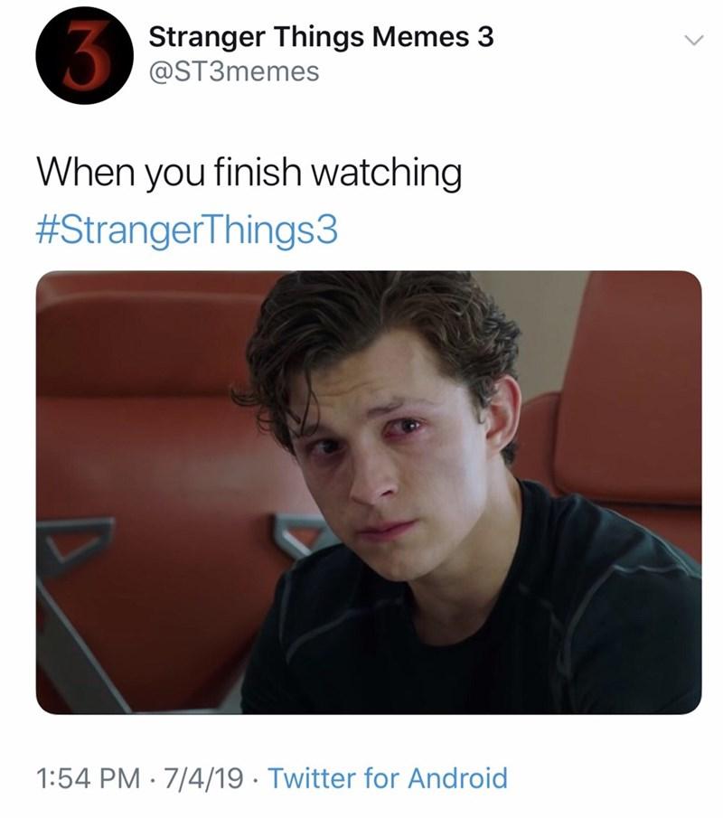 stranger things meme - Text - Stranger Things Memes 3 @ST3memes When you finish watching #StrangerThings3 1:54 PM 7/4/19. Twitter for Android