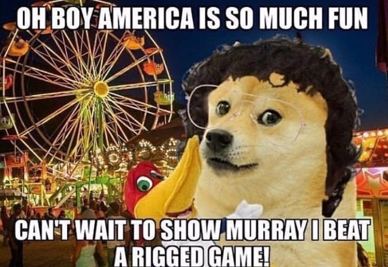 stranger things meme - Dog - OH BOY AMERICA IS SO MUCH FUN CAN-T WAIT TO SHOW MURRAY I BEAT A RIGGED GAME!
