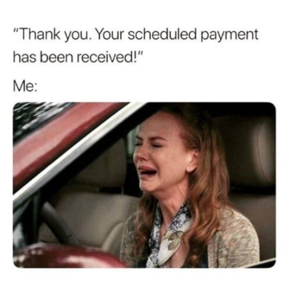 """adults - Facial expression - """"Thank you. Your scheduled payment has been received!"""" Me:"""
