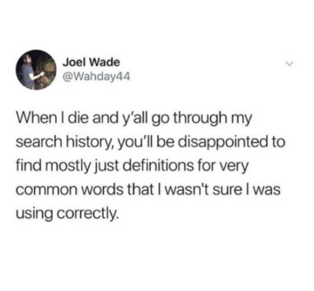 adults - Text - Joel Wade @Wahday44 When I die and y'all go through my search history, you'Il be disappointed to find mostly just definitions for very common words that I wasn't sure I was using correctly.