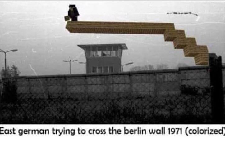 dank meme - Architecture - East german trying to cross the berlin wall 1971 (colorized)