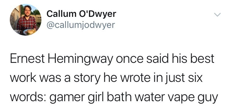 belle delphine bath water - Text - Callum O'Dwyer @callumjodwyer Ernest Hemingway once said his best work was a story he wrote in just six words: gamer girl bath water vape guy