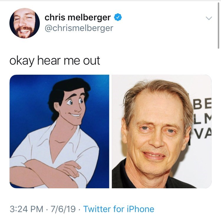 little mermaid cast - Face - chris melberger @chrismelberger okay hear me out BE LM VA 3:24 PM 7/6/19 Twitter for iPhone