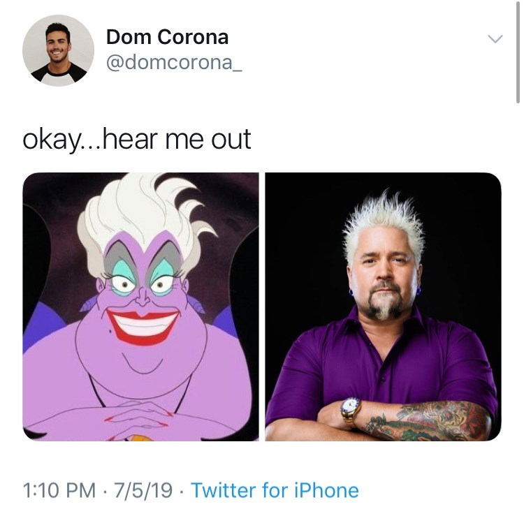 little mermaid cast - Face - Dom Corona @domcorona_ okay...hear me out 1:10 PM 7/5/19. Twitter for iPhone