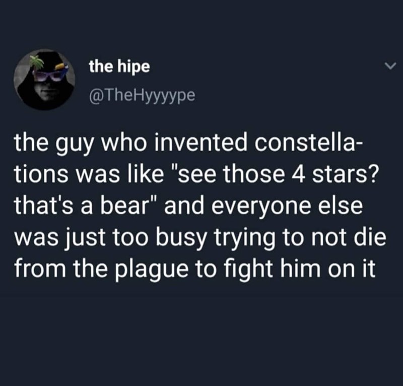 """funny tweet - Text - the hipe @TheHyyyype the guy who invented constella- tions was like """"see those 4 stars? that's a bear"""" and everyone else was just too busy trying to not die from the plague to fight him on it"""