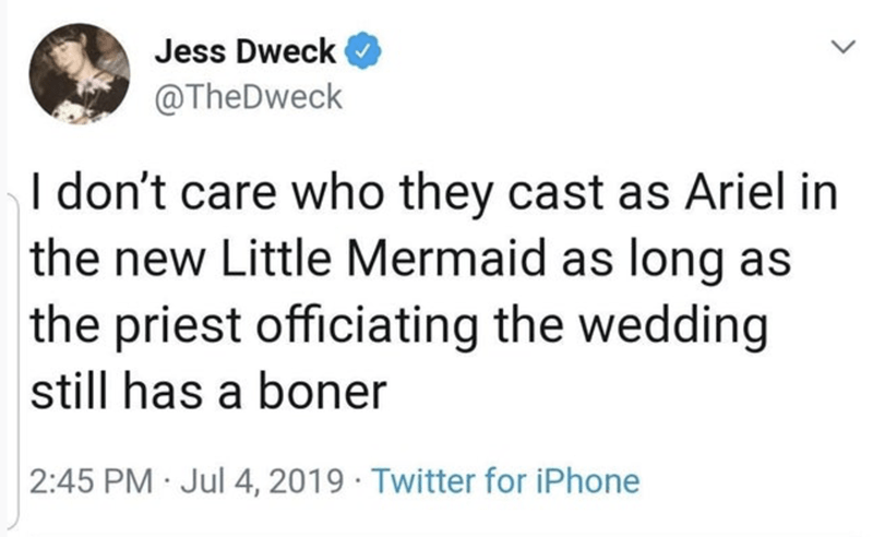 funny tweet - Text - Jess Dweck @TheDweck I don't care who they cast as Ariel in the new Little Mermaid as long as the priest officiating the wedding still has a boner 2:45 PM Jul 4, 2019 Twitter for iPhone