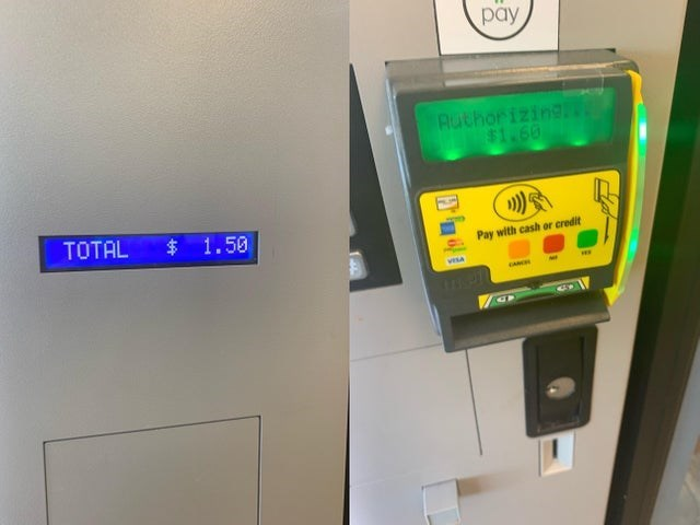 Machine - pay RuthorizingN $1.60 TOTAL 1.50 Pay with cash or credit vesa CANCE