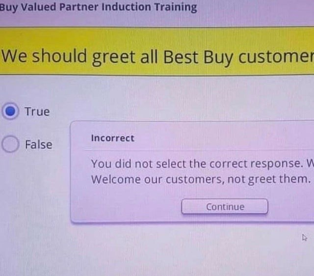 Text - Buy Valued Partner Induction Training We should greet all Best Buy customer True Incorrect False You did not select the correct response. W Welcome our customers, not greet them. Continue