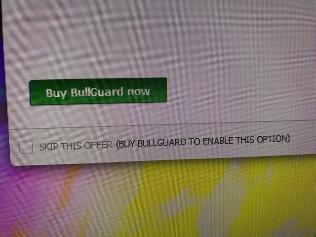 Text - Buy BullGuard now SKIP THIS OFFER (BUY BULLGUARD TO ENABLE THIS OPTION)