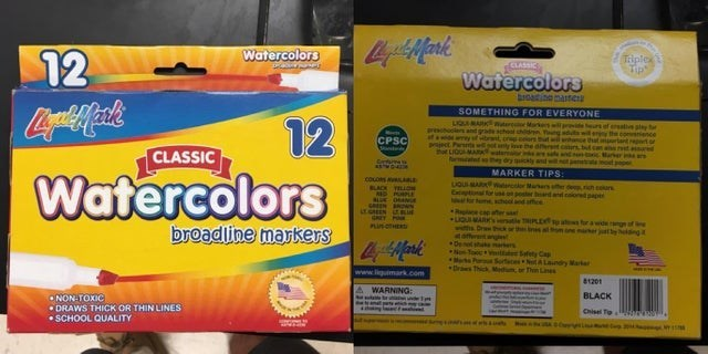 Yellow - Watercolors 12 Tiplex Tip CLASSIC Watercolors bigatinemastC SOMETHING FOR EVERYONE 12 Watercolors LIQMARK mter Mas e e f esative ply t ooes and grade ho CPSC praject Par hot LIGURMAMAwata wpotty e the aernt cs but ca kae sale and uickly and wlt a t Marker in te not p rt CLASSIC MARKER TIPS: coLos ALaa ugusMARKW Man poser toun Icoioned pape or m Rpine cap uguMARK GREY P TIPLE i om one er jtby eldng a for a wdengf broadline markers anges 44Mark No Too tta Safety Cap Mer P Sorfeces NotALau
