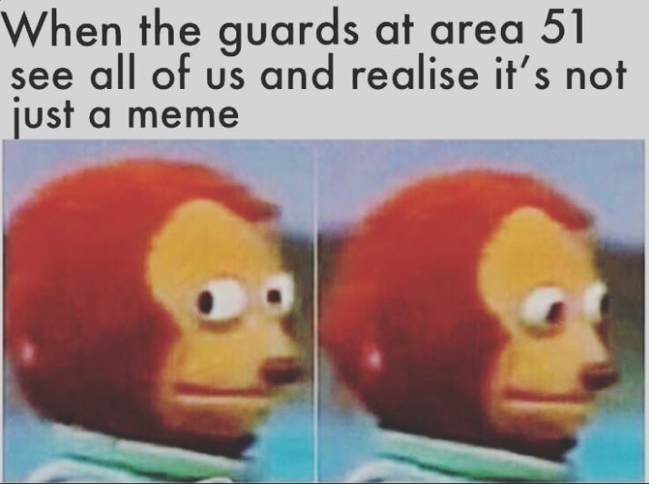 area 51 - Facial expression - When the guards at area 51 see all of us and realise it's not just a meme