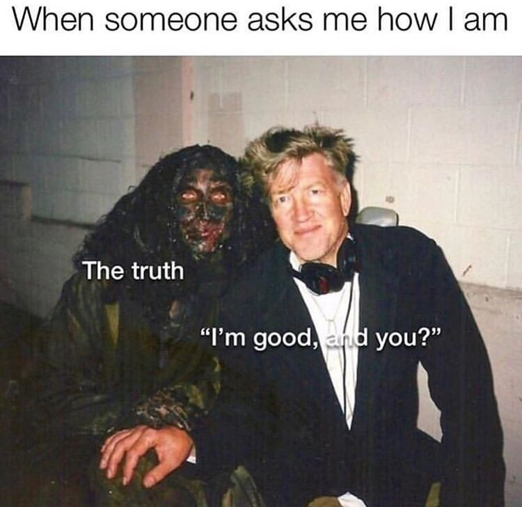 "meme - Photo caption - When someone asks me how I am The truth ""I'm good, and you?"""