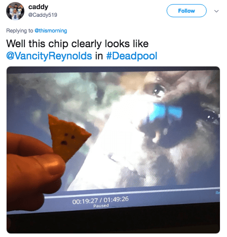 putin steak - Ipad - caddy Follow @Caddy519 Replying to thismorning Well this chip clearly looks like @VancityReynolds in #Deadpool Re 00:19:27/01:49:26 Paused