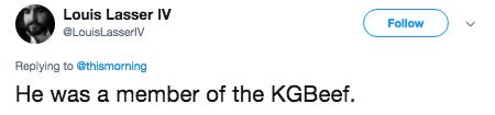 putin steak - Text - Louis Lasser IV Follow LouisLasserlV Replying to @thismorning He was a member of the KGBeef.