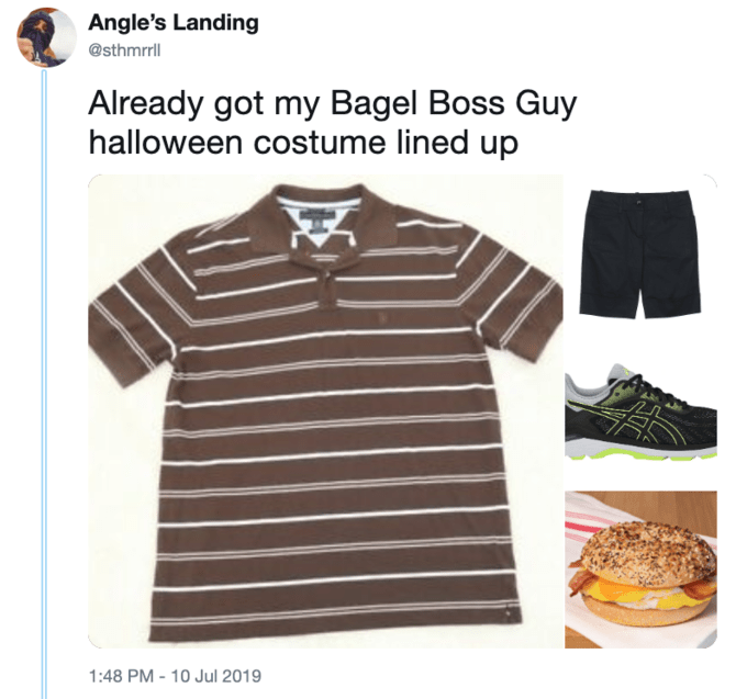 Clothing - Angle's Landing @sthmrll Already got my Bagel Boss Guy halloween costume lined up 1:48 PM -10 Jul 2019