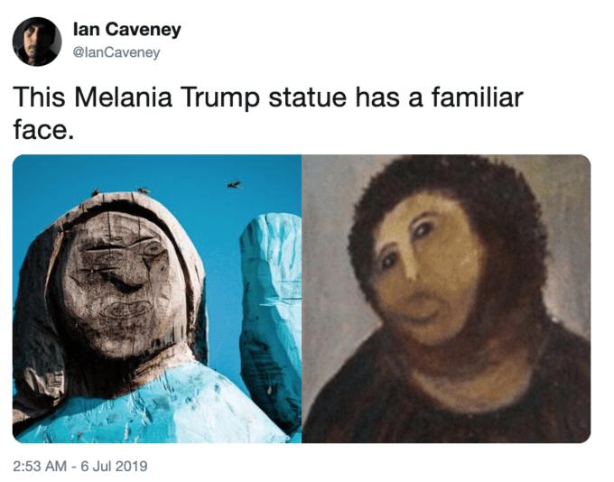Face - lan Caveney @lanCaveney This Melania Trump statue has a familiar face. 2:53 AM - 6 Jul 2019
