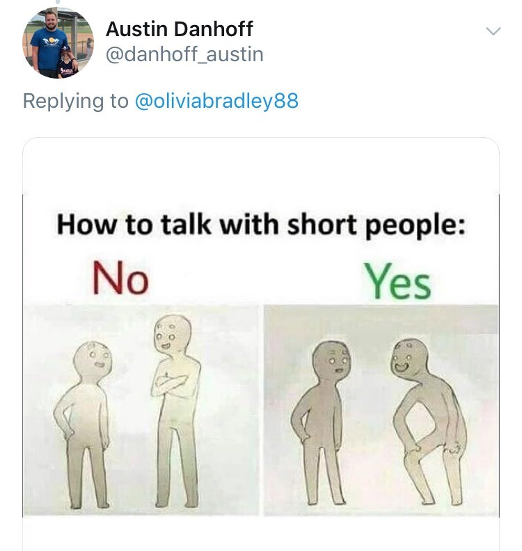 Text - Austin Danhoff @danhoff_austin Replying to @oliviabradley88 How to talk with short people: No Yes