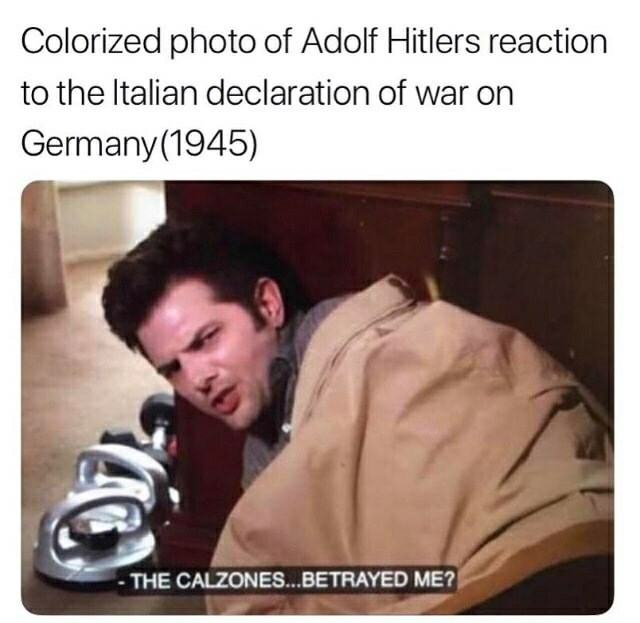 meme - Text - Colorized photo of Adolf Hitlers reaction to the Italian declaration of war Germany(1945) THE CALZONES...BETRAYED ME?