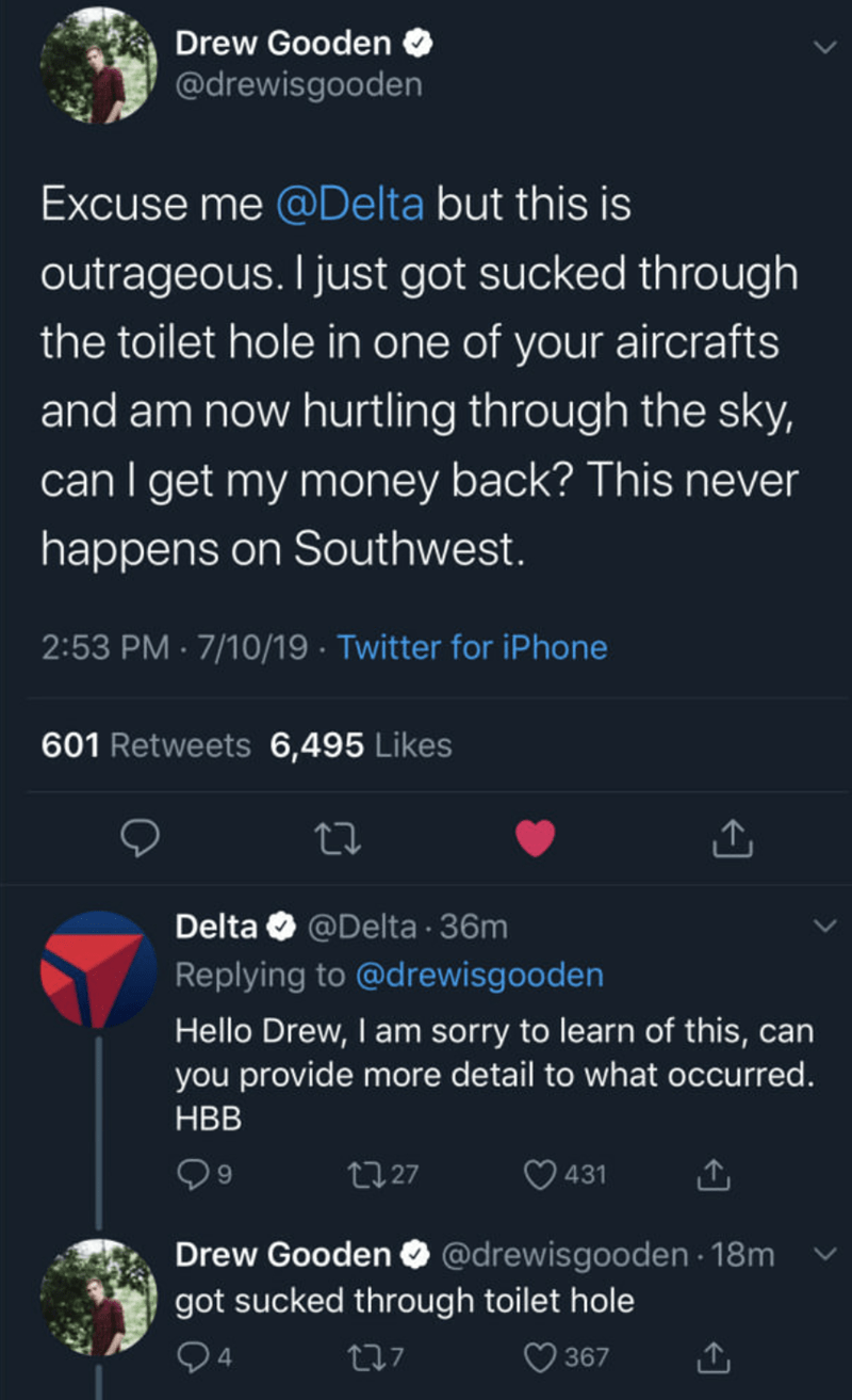 Meme - Text - Drew Gooden @drewisgooden Excuse me @Delta but this is outrageous. I just got sucked through the toilet hole in one of your aircrafts and am now hurtling through the sky, can I get my money back? This never happens on Southwest. 2:53 PM 7/10/19 Twitter for iPhone 601 Retweets 6,495 Likes Delta @Delta 36m Replying to @drewisgooden Hello Drew, I am sorry to learn of this, can you provide more detail to what occurred. HBB 9 431 t27 Drew Gooden O @drewisgooden 18m got sucked through to