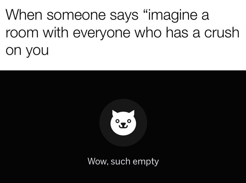 """Meme - Text - When someone says """"imagine a room with everyone who has a crush on you Wow, such empty"""