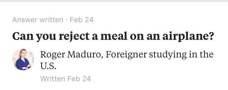 """Quora- """"Can you reject a meal on an airplane?"""""""