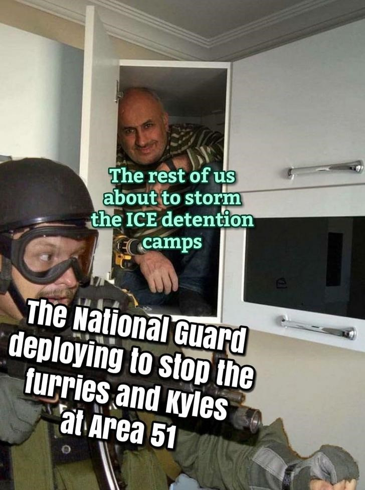 Area 51 Memes - Helmet - The rest of us about to storm the ICE detention camps The National Guard deploying to stop the furries and Kyles at Area 51