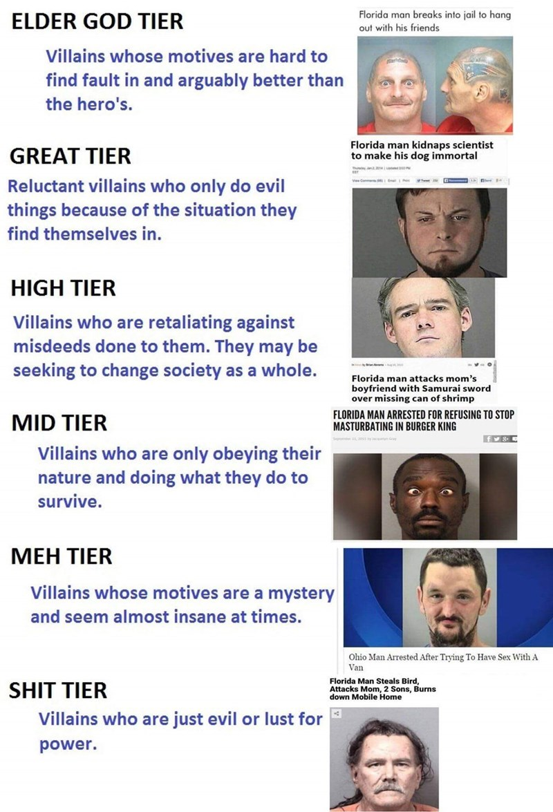 Meme - Face - Florida man breaks into jail to hang ELDER GOD TIER out with his friends Villains whose motives are hard to find fault in and arguably better than the hero's. Florida man kidnaps scientist to make his dog immortal GREAT TIER usyn21u Reluctant villains who only do evil things because of the situation they find themselves in. HIGH TIER Villains who are retaliating against misdeeds done to them. They may be seeking to change society as a whole. Florida man attacks mom's boyfriend with