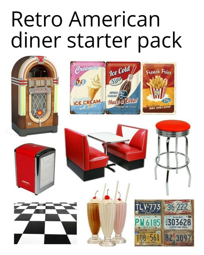 meme - Clip art - Retro American diner starter pack Creewmee Ice Cold 20 Frenck Fries TOURSEL Amertean ICE CREAM Aoft serve Havea Cola! AMERICAN STYLE 25c HOT AND CRISP MICHIGAN TLV 773 36 222 STATE 19 LLINGIS 23 PW6185 303628 MAINE CANDOELINCL VACATIONLAN PENNSYLVAN'A TO80561 82 3097 NVIUN UKE SIATE FEB