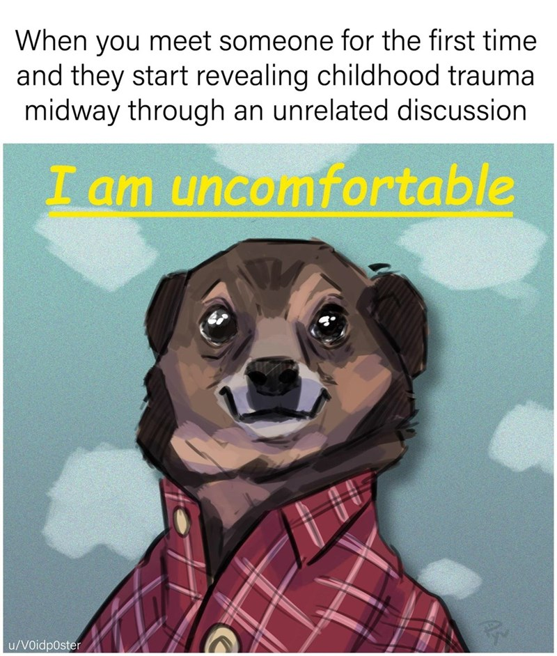 meme - Dog - When you meet someone for the first time and they start revealing childhood trauma midway through an unrelated discussion I am uncomfortable u/V0idp0ster