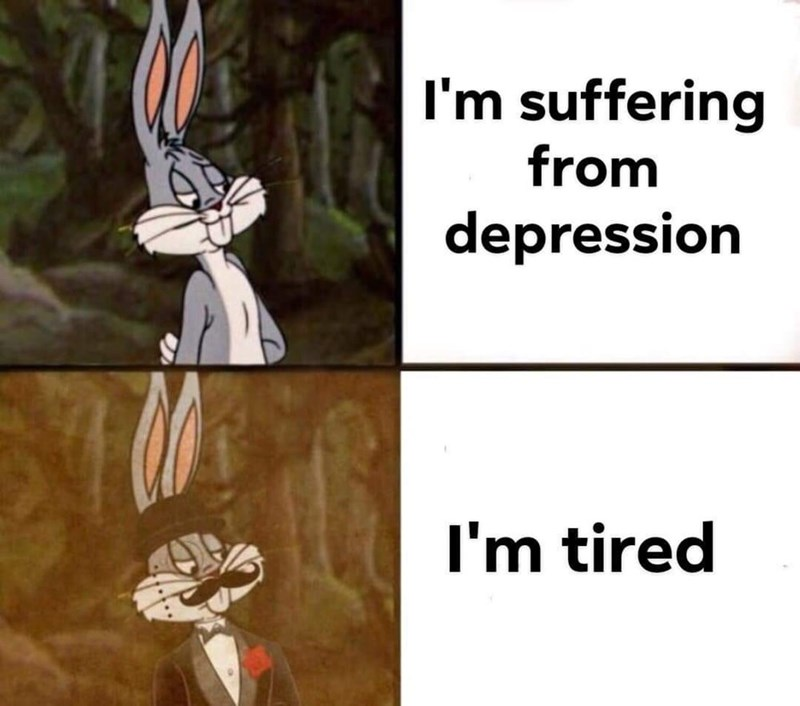 meme - Cartoon - I'm suffering from depression I'm tired