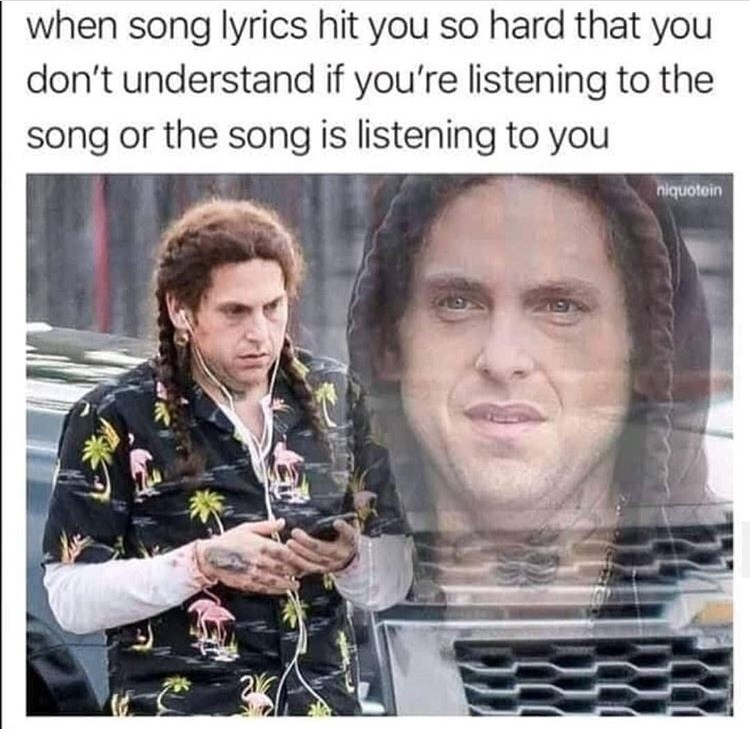 Meme - Text - when song lyrics hit you so hard that you don't understand if you're listening to the song or the song is listening to you niquotein