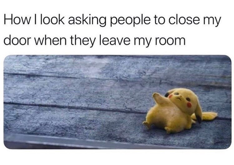Meme - Text - How I look asking people to close my door when they leave my room