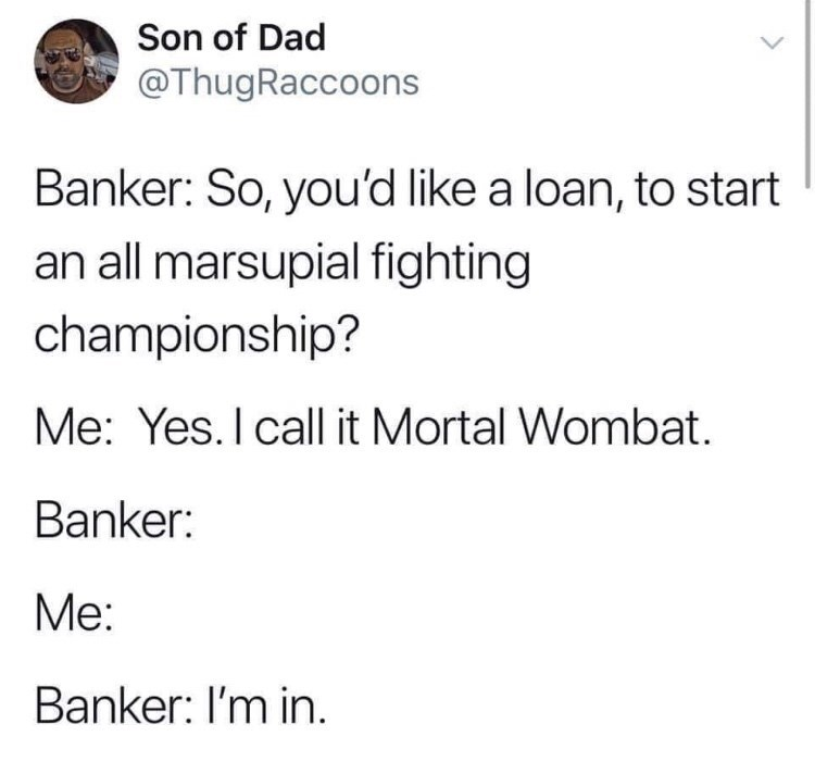 Meme - Text - Son of Dad @ThugRaccoons Banker: So, you'd like a loan, to start an all marsupial fighting championship? Me: Yes. I call it Mortal Wombat Banker: Мe: Banker: I'm in.