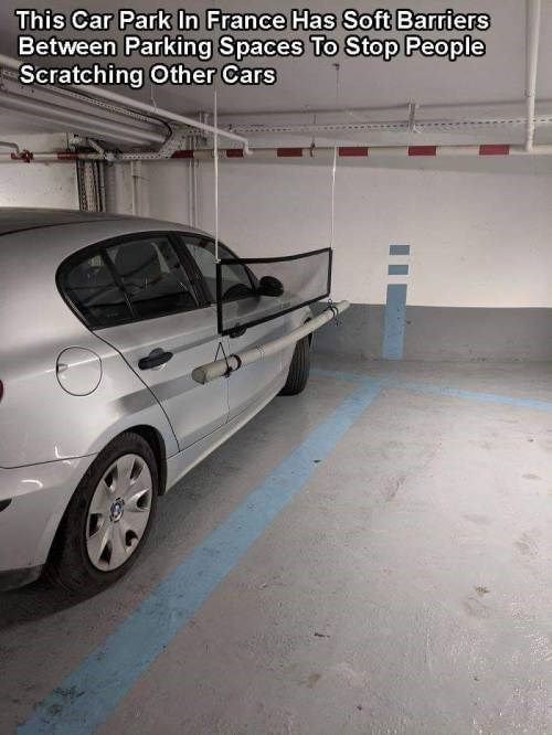 genius invention - Land vehicle - This Car Park In France Has Soft Barriers Between Parking Spaces To Stop People Scratching Other Cars