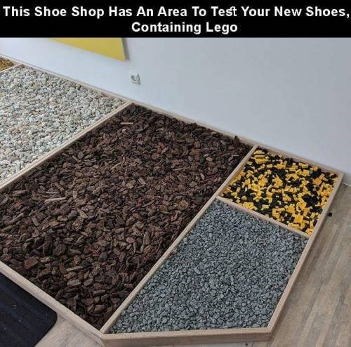 genius invention - Floor - This Shoe Shop Has An Area To Test Your New Shoes, Containing Lego