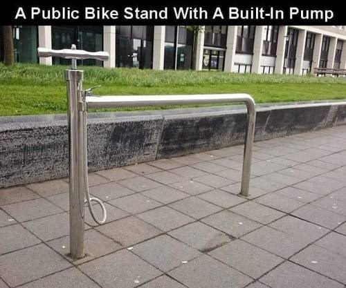 genius invention - Public space - A Public Bike Stand With A Built-In Pump