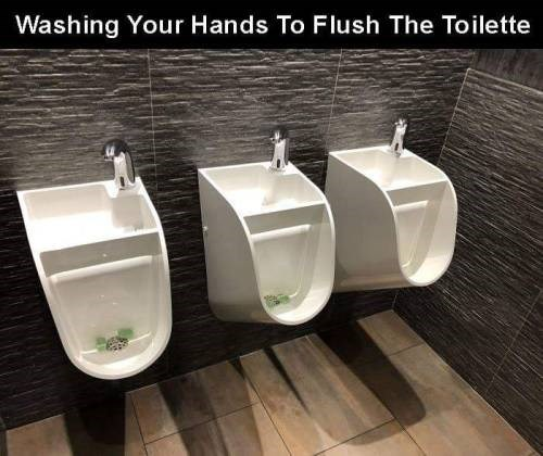 genius invention - Plumbing fixture - Washing Your Hands To Flush The Toilette